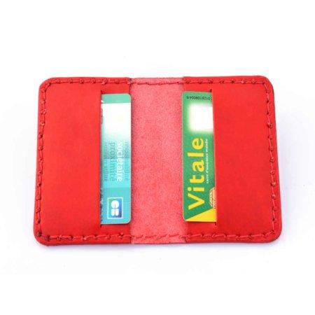 Étui pour carte bancaire en cuir rouge