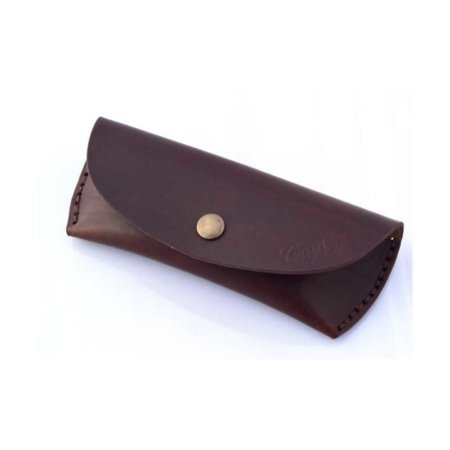Etui à lunettes en cuir marron chocolat