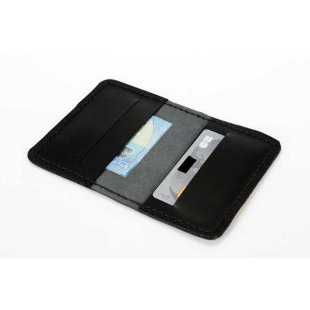 Etui pour cartes bancaires en cuir noir
