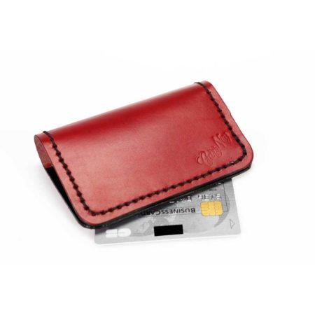 Etui pour cartes bancaires en cuir rouge et noir
