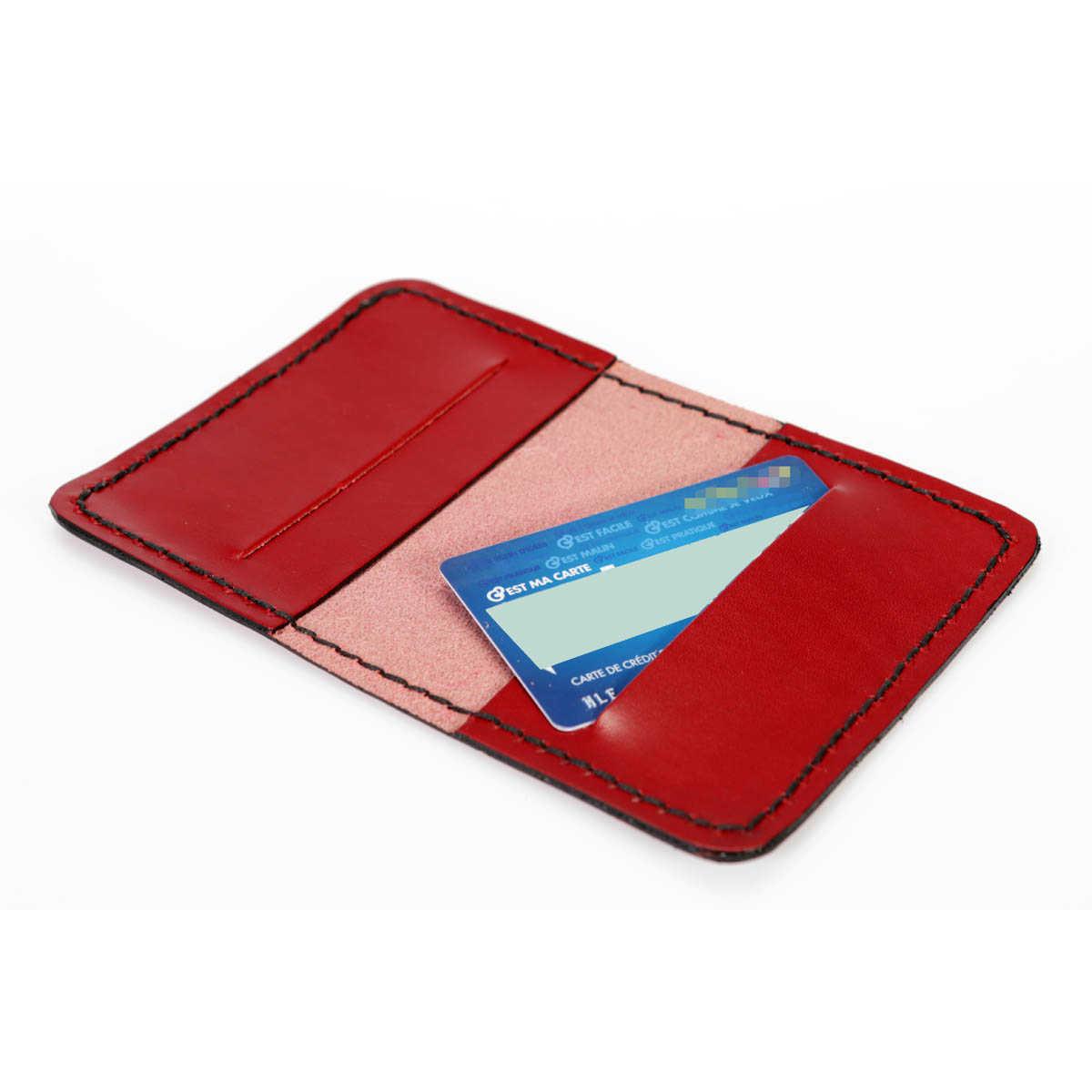 etui pour carte bancaire en cuir rouge cuirs ney