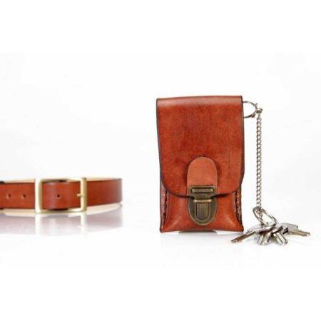 Etui à clés en cuir naturel à mettre à la ceinture