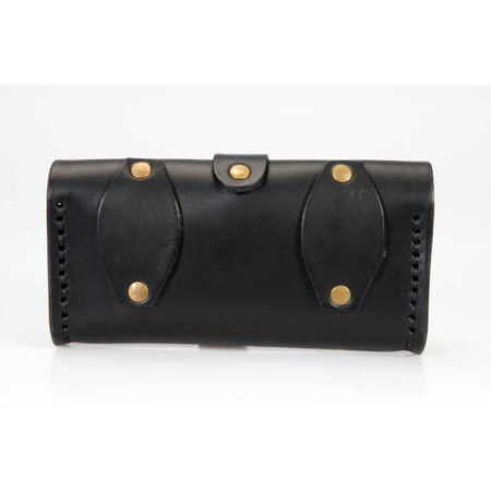 Pochette horizontale en cuir noir pour smartphone