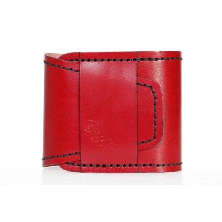 Porte chéquier long, cuir rouge, plié