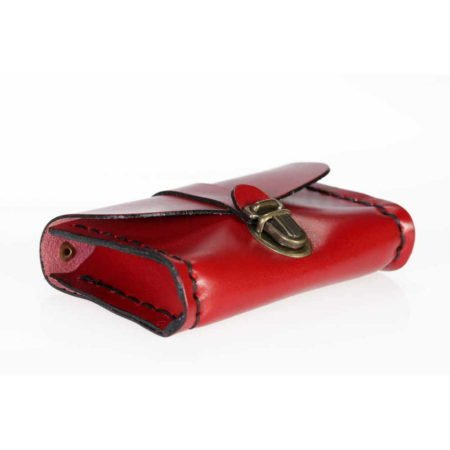 "Porte monnaie en cuir rouge ""Cartable"""