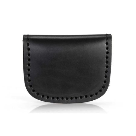 Porte monnaie plat en cuir noir