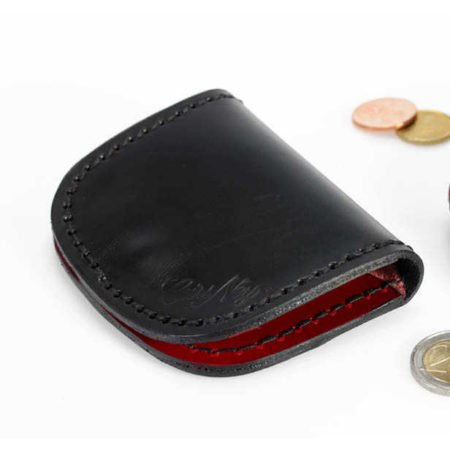 Porte monnaie plat cuir noir et rouge
