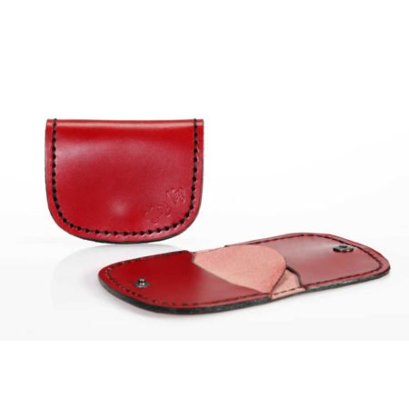 Porte monnaie plat en cuir rouge