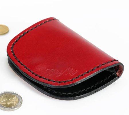 Porte monnaie plat en cuir rouge et noir