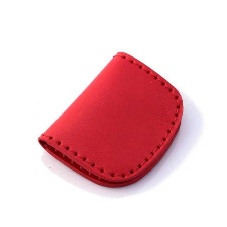 Porte-monnaie plat en cuir rouge