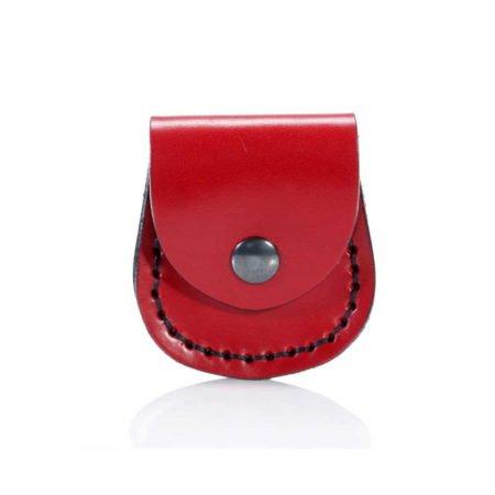Porte montre gousset en cuir rouge