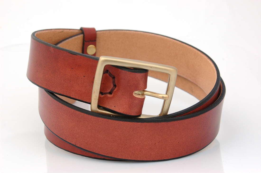 1a6ea7f87309 ... Ceinture marron en cuir naturel, avec boucle en laiton « Michel »