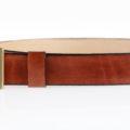 """Ceinture en cuir naturel marron - boucle en laiton """"Pierre"""" 3,5 cm"""