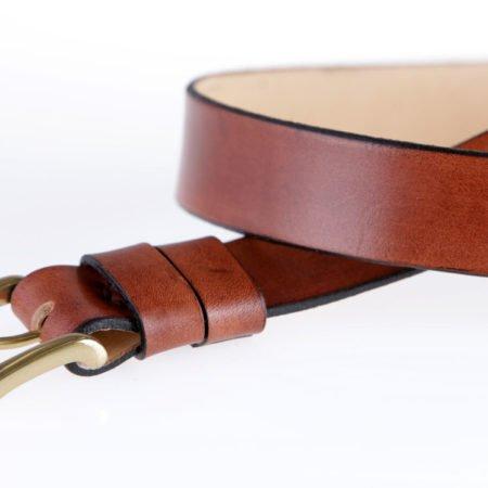 """Ceinture marron en cuir naturel avec boucle """"Rouleau"""" 3,5 cm"""