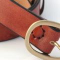 """Ceinture marron en cuir naturel, boucle laiton """"Serge"""" 3,5 cm"""