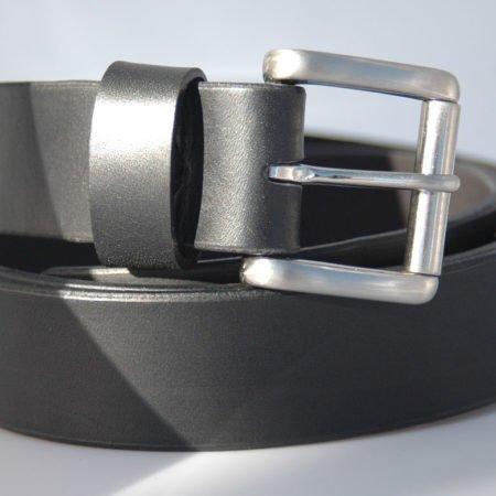 Ceinture en cuir noir, avec boucle en laiton à Rouleau - 3,5 cm
