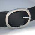 """Ceinture en cuir noir avec boucle en laiton """"Thibault"""", 3,5 cm"""