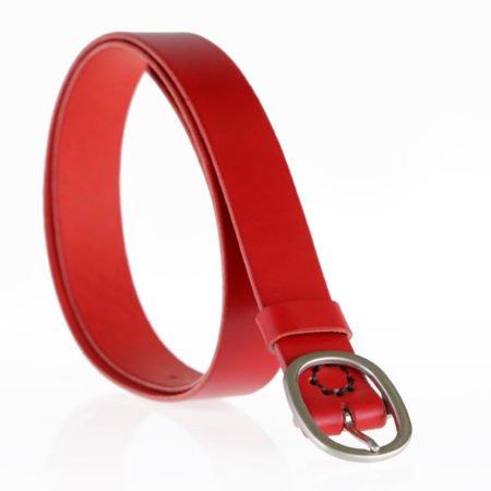 """Ceinture en cuir rouge avec boucle en laiton """"Nathalie"""", 3,5 cm"""