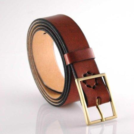 """Ceinture marron en cuir naturel - boucle en laiton """"Alain"""" 3 cm"""