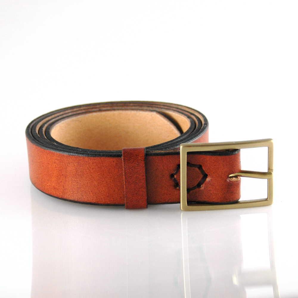 5ac53f1369dc Ceinture marron en cuir naturel - boucle en laiton