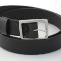 """Ceinture noire en cuir, boucle laiton """"Michel"""" 3,5 cm"""