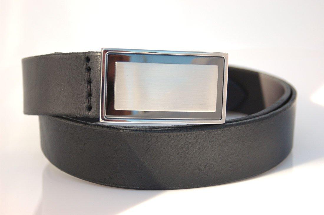 Ceinture noire en cuir de 3,5 cm - boucle habillée