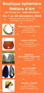 Boutique éphémère à Besançon du 7 au 30 décembre 2018