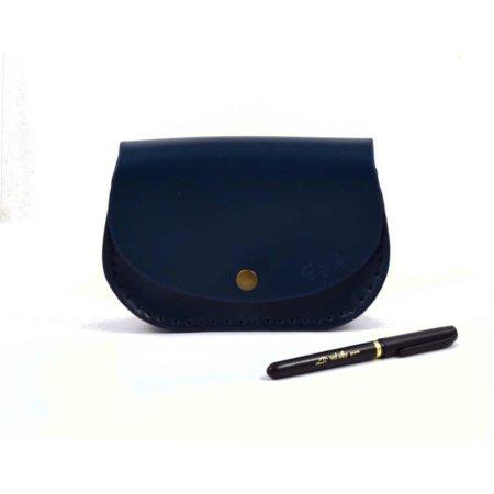 "Petit sac bleu marine en cuir avec bandoulière ""Ema"""