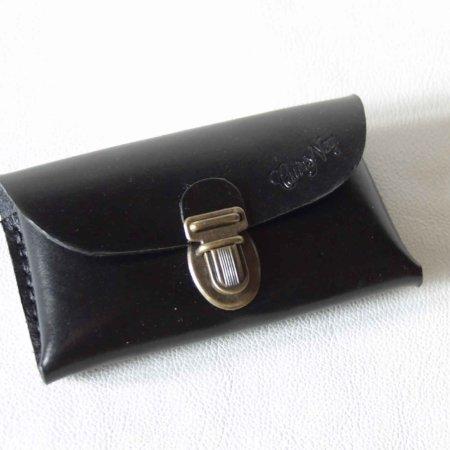 Pochette en cuir noir pour smartphone