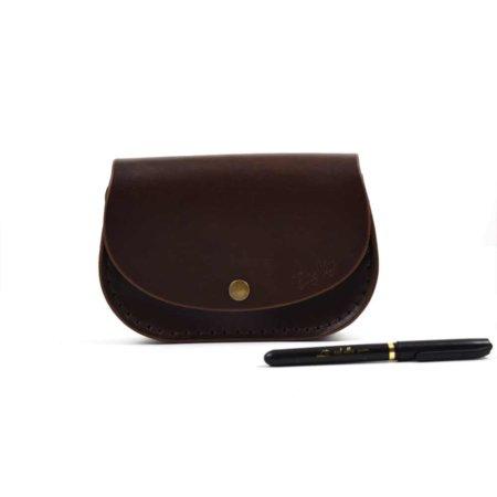 """Petit sac marron chocolat en cuir avec bandoulière """"Ema"""""""