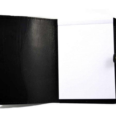 Protège document noir en cuir - format A4