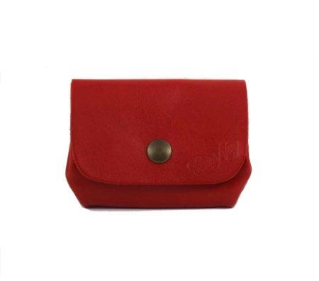 """Porte Monnaie rouge """"Grand Père"""" en cuir"""
