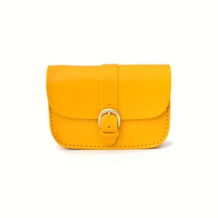"""Sac jaune en cuir pour femme à bandoulière """"P'tit Marn"""""""