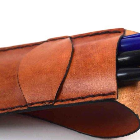Étui à stylos en cuir naturel