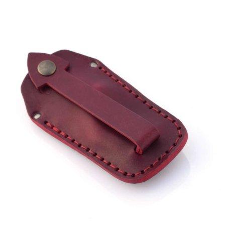 Étui à clés ou porte-clés en cuir rouge Bordeaux