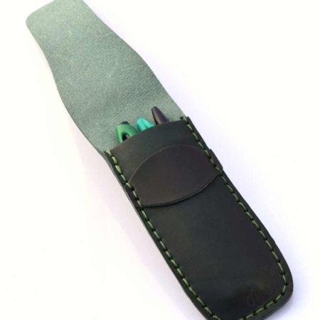 Étui à stylos en cuir vert foncé