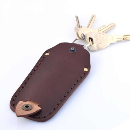 Etui à clés ou porte-clés en cuir marron chocolat