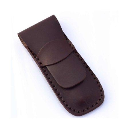 Étui à stylos en cuir marron chocolat
