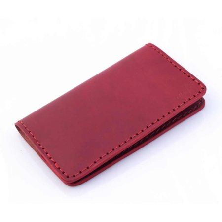 Porte chéquier rouge Bordeaux en cuir, talon haut