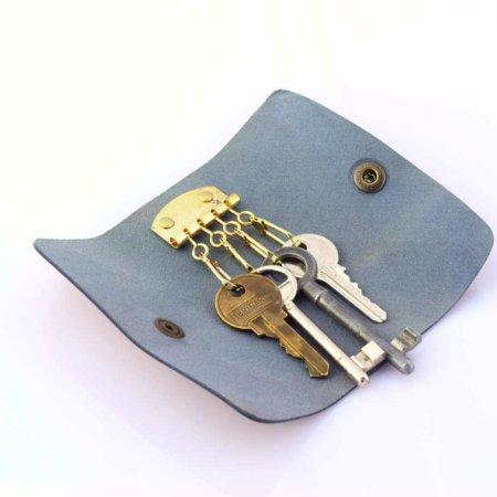 Porte-clés en cuir bleu marine