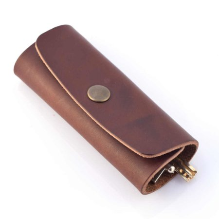 Porte-clés en cuir marron chocolat