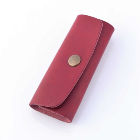 Porte-clés rouge Bordeaux en cuir - 4 attaches