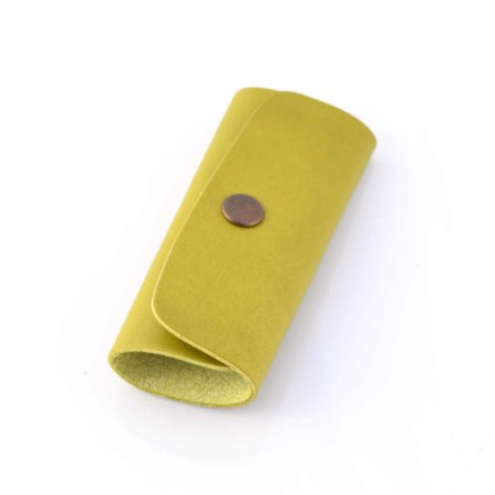 Porte-clés vert clair en cuir - 4 attaches