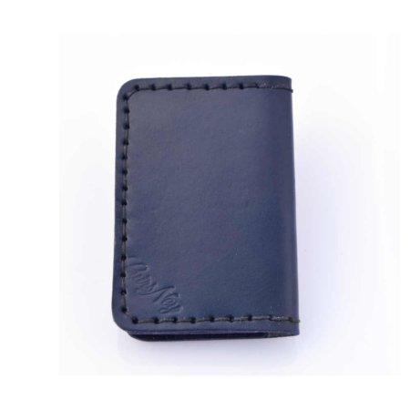 Étui porte-cartes bancaires en cuir bleu marine