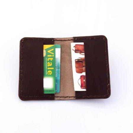 Étui porte-cartes bancaires en cuir marron chocolat