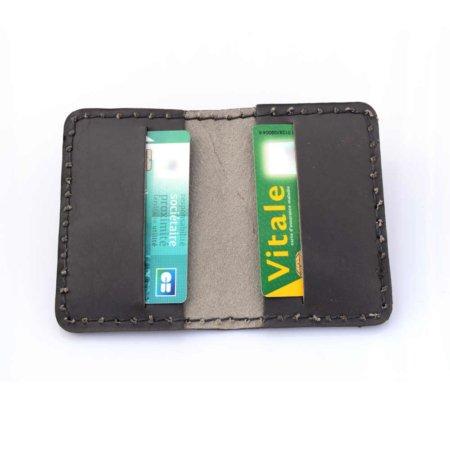Étui porte-cartes bancaires en cuir gris
