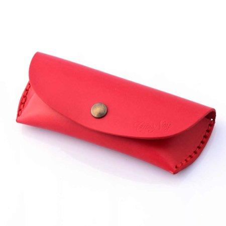 """Étui à lunettes rouge en cuir - by """"Les Cuirs Ney"""""""