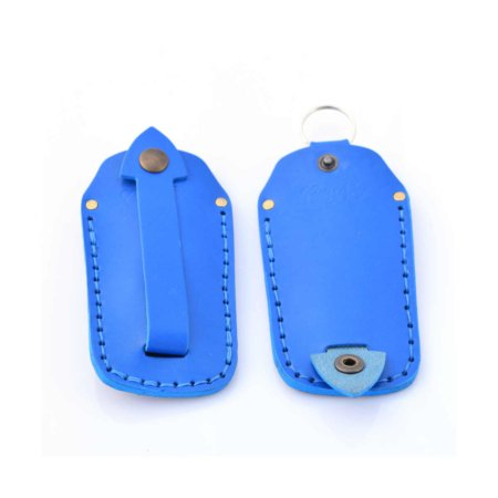 Étui à clés ou porte-clés en cuir bleu clair