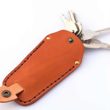 Étui à clés ou porte-clés marron Cognac en cuir