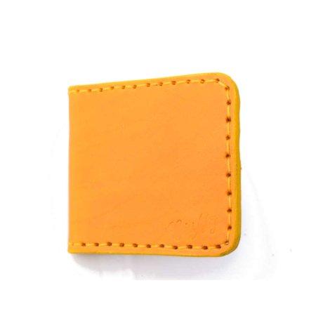 Porte-cartes bancaires en cuir jaune moutarde